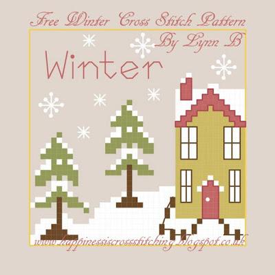 free cross stitch pattern mini house in winter
