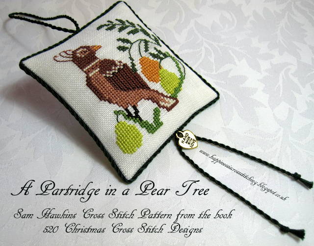 A visit to Laduree followed by some Christmas stitching on The Crossed stitched  Partridge in a Pear Tree ornament