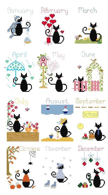 free calendar mini cat cross stitch patterns