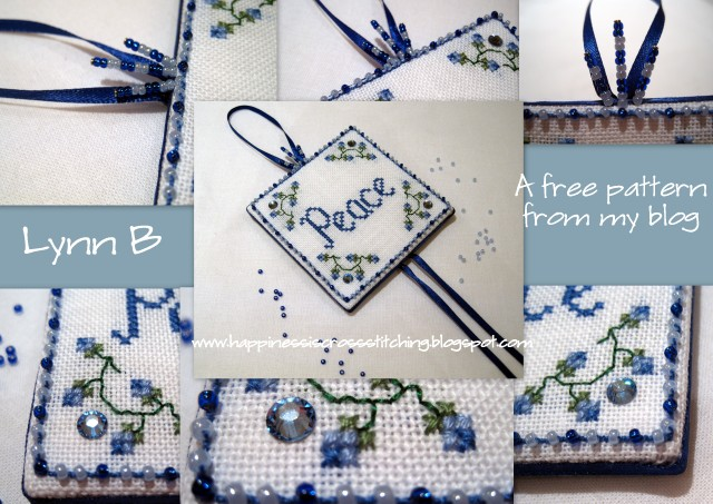 Peace design finished as a cross stitch pinkeep and preview of another free cross stitch pattern.
