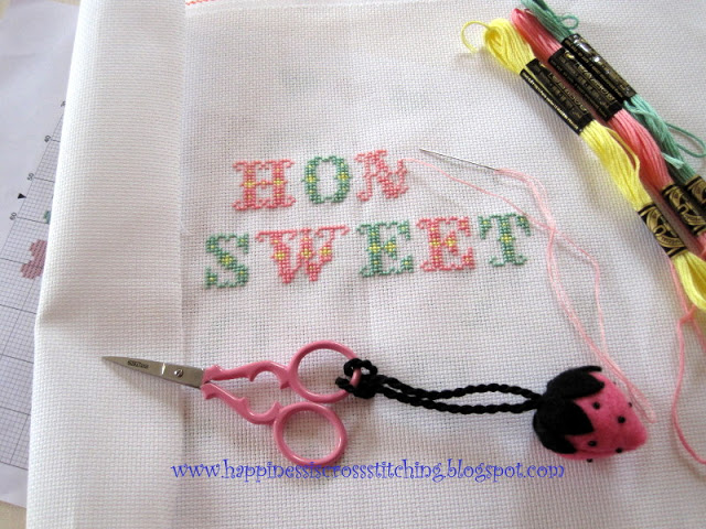 Cross stitch work in progress, Valentine giveaway and stash bought in Paris!