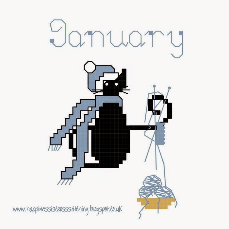 January mini cat cross stitch pattern from Lynn B