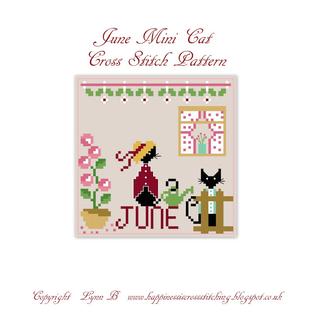 June calendar cross stitch pattern featuring two mini black cats in their garden stood by the fence and a flower pot.