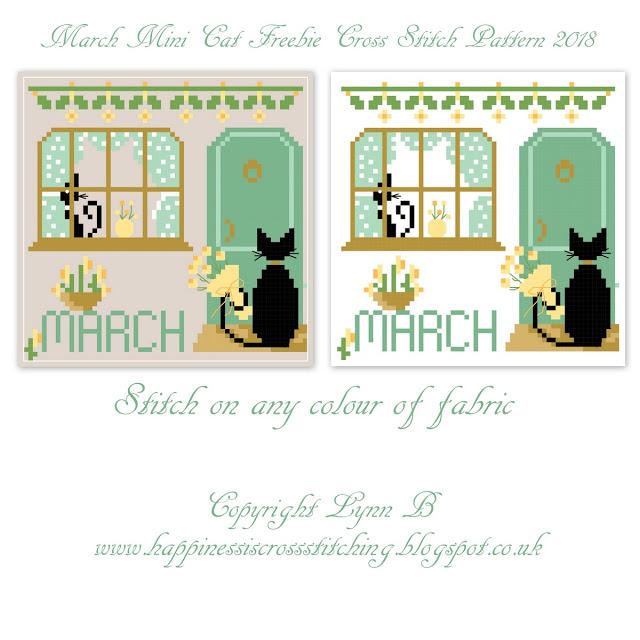 Calendar mini cats cross stitch patterns featuring cute black cat designs for each month.