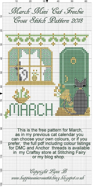 Free March Cross Stitch pattern shows Mini Black Cat waiting outside the door of his girlfriend Miss Mini to take her out to dinner, he has flowers in his hand.