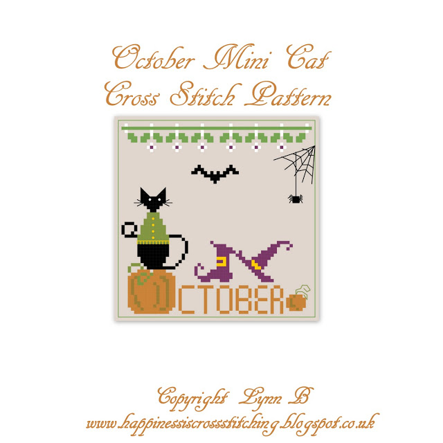 Freebie Friday – October mini cat 2018 cross stitch pattern
