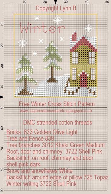 free cross stitch pattern winter mini house