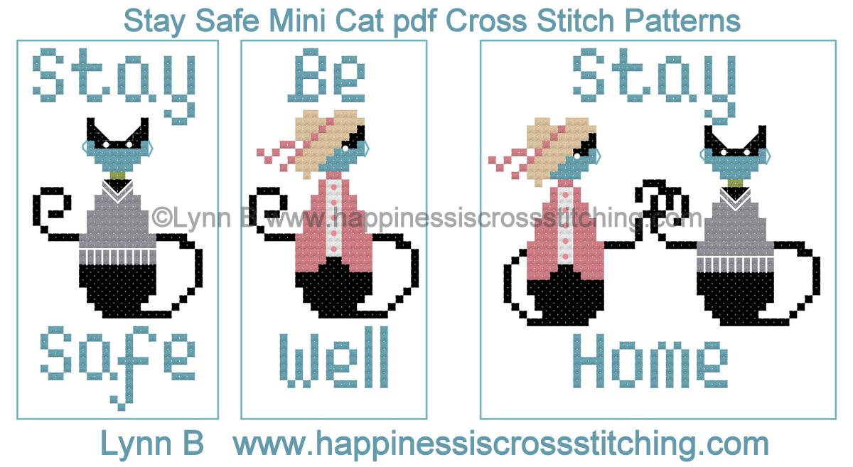 Mini cat cross stitch pattern with a small black cat wearing a face mask to protect against Covid 19