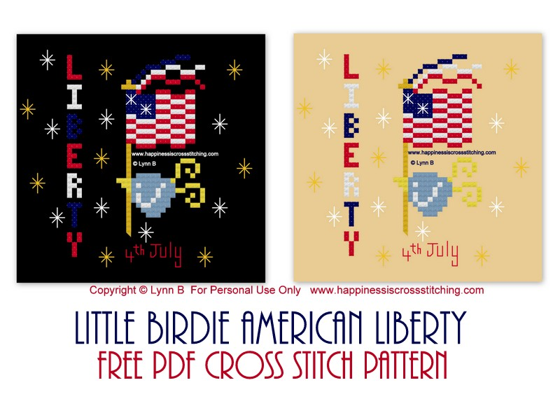 Little Bird cross stitch pattern featuring a small bird carrying the American flag celebrating the 4th July.
