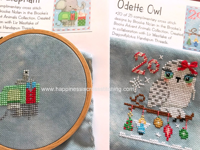 A calendar of cross stitch patterns for Christmas, twenty five designs for advent with an animal in each cross stitch.