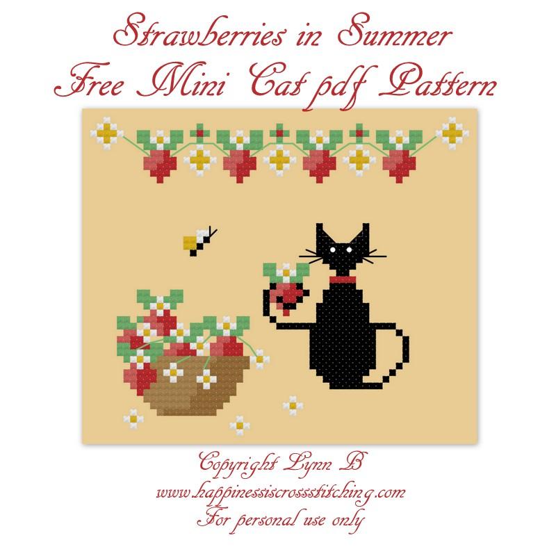 Strawberry mini cat cross stitch pattern