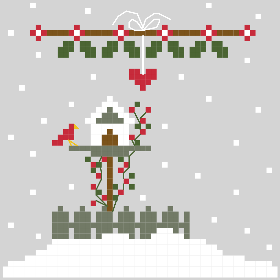 Cross stitch pattern of a little birdhouse at Christmas, snow falling and holly trimmed above.