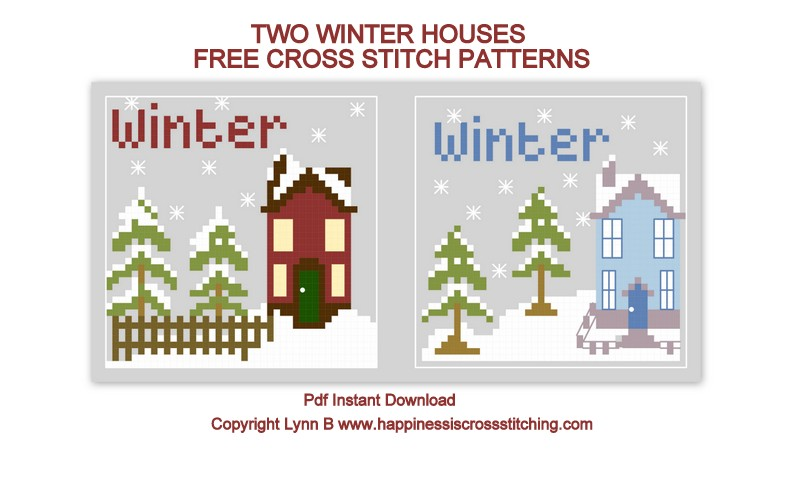 Winter cross stitch pattern.Two Winter houses featured in this cute cross stitch pattern, one a dark wine colour and the other ice blue.Snow all around and pretty pine trees.