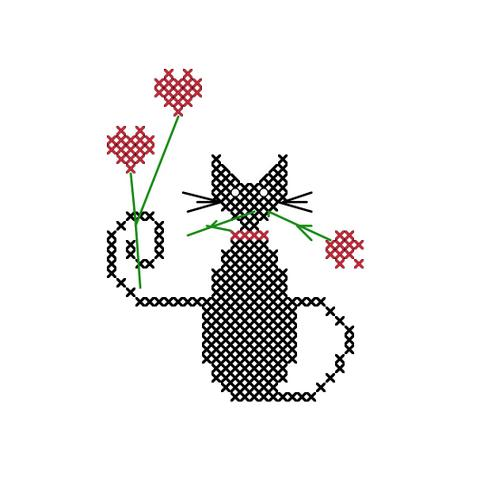 Black cat cross stitch pattern of cat holding red roses