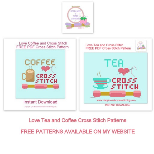 Love tea and coffee cross stitch pattern