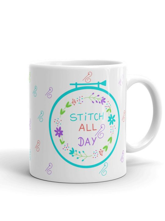 The perfect coffee mug for the crafter or anyone who loves embroidery or cross stitch, features all embroidery accessories for needlework.
