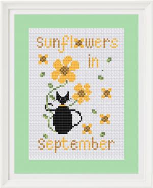 Sunflower mini cat cross stitch