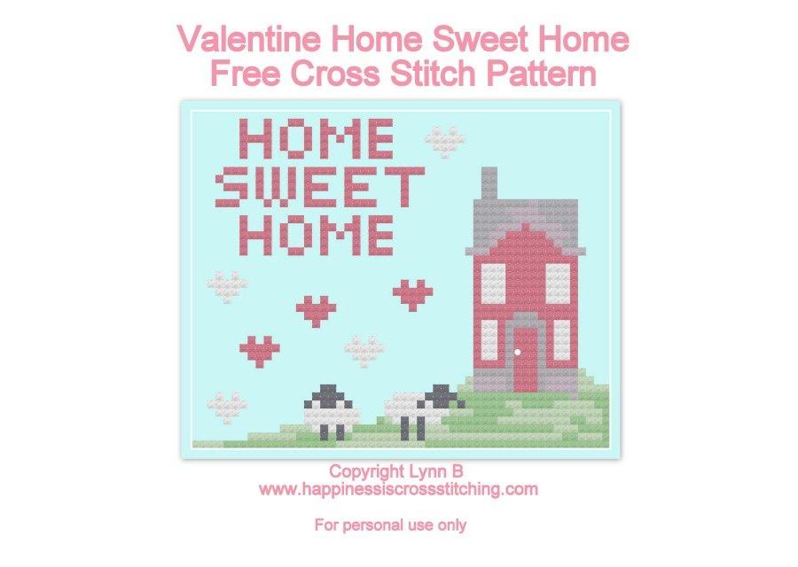 Valentine Home Sweet Home Cross Stitch Pattern