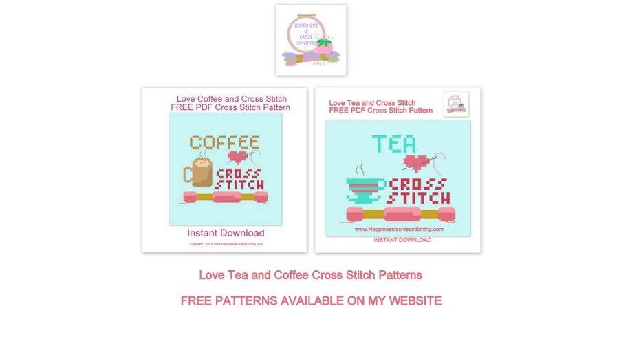 Love Tea and Cross Stitch Pattern