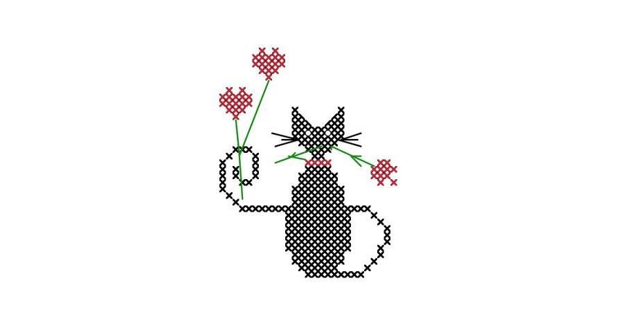 Valentine Roses Mini Cat Cross stitch Pattern